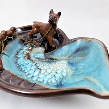 Mother Dog and Puppies Ashtray, Vintage Ashtray, Turquoise and Brown