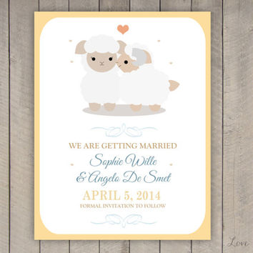 Personalized Save the Date for a wedding - sheep