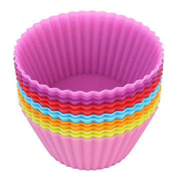 12pcs pack 2.8inch Soft Silicone Cake Muffin Chocolate Cupcake Bakeware Baking Cup Mold Multicolor