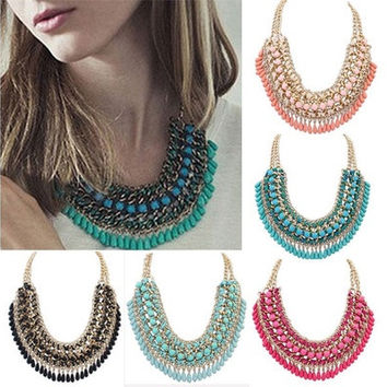 Beads Pendant Crystal Tassel Choker Chunky Statement Bib Necklace Jewelry Chain [8081689671]
