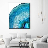 Blue Geode Art Print Agate Crystal Art Print with Agate Watercolour Wall Art Wall Hanging  for Living Room Wall Art Decor No Fra