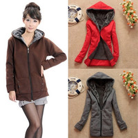 2015 Fashion Women's Winter Thicken Fur Warm Zip Hoodied Coat Outerwear Jacket 6 Colors = 1931977220