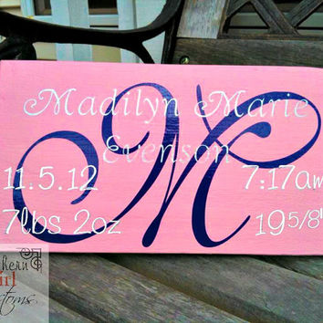 Baby Birth Date & Name sign, Handmade Nursery Decor, Custom Name Decor, Personalized Baby Decor