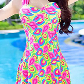Pink Push Up Sweetheart Neck Print One-Piece Swimsuit