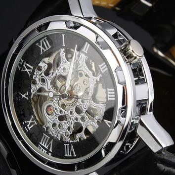 Men's Mechanical Skeleton Black Leather Wrist Watch Silver Automatical Men's Dial