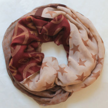 brown star-peace infinity scarf, scarf, scarves, long scarf, loop scarf, gift
