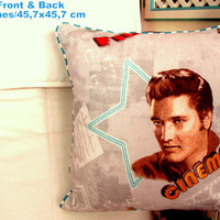 Elvis Presley premium cotton pillow cover with piping 18x18