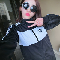 """Adidas"" All-match Fashion Pattern Letter Baseball Clothing Male and Female Short Jacket"