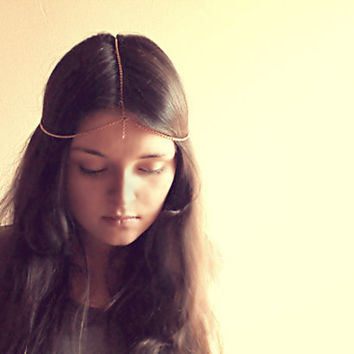 Fairy Chain Simple Golden Headpiece - Made to order- Free Shipping