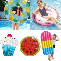 Adult Summer Swimming Ring Pineapple Watermelon Ice Cream Pool Float Raft  Cherry Flamingo Angel Wings Palm Tree Swimming Circle