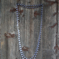 Bohemian Blue Ombre Necklace - Crocheted Boho Beaded Jewelry - Hippie Simple Chic Ultra Long Necklace Gray Grey