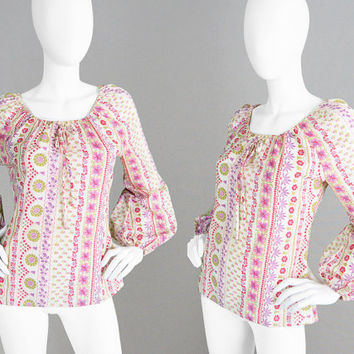 Vintage 70s Boho Blouse Poet Sleeves Hippie Blouse Floral Summer Top 1970s Floral Shirt Balloon Sleeve Puffed Sleeves 70s Blouse Gypsy Top