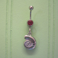 Belly Button Ring - Body Jewelry -Silver Shell With Pink Gem Stone Belly Button Ring