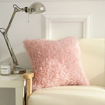 """Pink Shaggy Decorative Square Faux Fur Accent Throw Pillow Cover Cushion Case 18"""" X 18"""""""