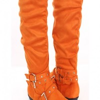 Orange Faux Suede Knee High Boots