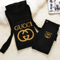 New pleuche velvet casual wear tracksuit cultivate one's morality Black