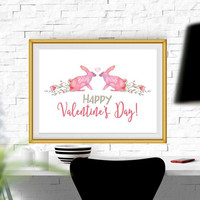 Happy Valentines day printable art Valentine sign Card Valentine print Large Valentine wall art Valentine decor Valentines party DOWNLOAD