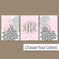 PINK GRAY Nursery Wall Art, Baby Girl Monogram Artwork, Girl Bedroom Pictures, Flower Burst, Set of 3, Canvas or Prints, Above Crib Decor