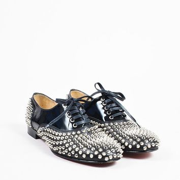 QIYIF Christian Louboutin Black Leather Lace Up  Freddy Spikes  Oxford Flats