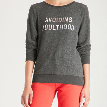WILDFOX Avoiding Adulthood printed jersey sweatshirt
