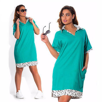 Turn-down Collar dress plus size women clothing L-6XL vestidos