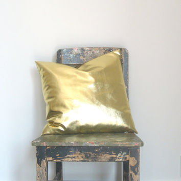 Gold Pillow Cover, Gorgeous home decor metallic gold cushion cover.