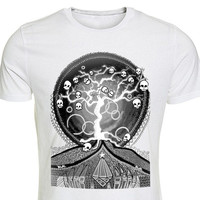 Printed Tshirt Skull Tree of Life Rockabilly Tee Punk Shirt Black White Gray Adult Sizes Gift for Him