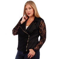 Plus Size Lace Zipper Jacket
