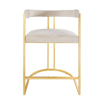 Worlds Away Cromwell Metal and Velvet Counter Stool