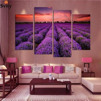 4 Piece Free Shipping Purple Lavender Large Living Room Painting Pictures on Canvas Prints Modern Wall Art Home Decoration