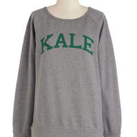 ModCloth Quirky, Scholastic Long Sleeve Sweatshirt Ivy Leaf Education Sweatshirt