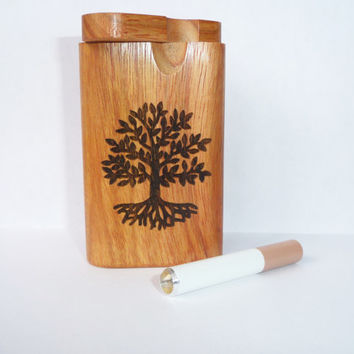 Exotic Teak wood Custom Dugout and one hitter with wood burned Tree of Life