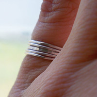 Set of 5 tiny sterling silver stacking rings - wear on pinky or nuckles