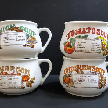 vintage wide soup mug with recipe. Tomato soup, mushroom soup, onion soup, chicken soup. price each