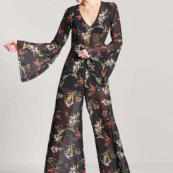 Sheer Floral Bell-Sleeve Jumpsuit