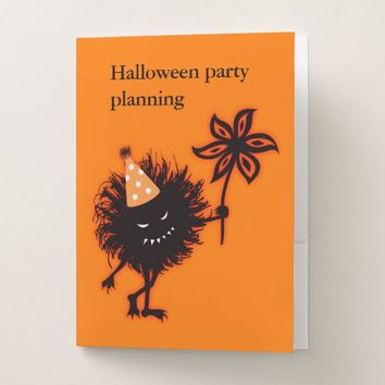 Evil Bug With Party Hat Halloween Planning Pocket Folder