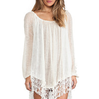 Free People Slip Away Pullover Dress in White