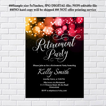 Retirement Invitations,  Retirement party Invitation,  Retirement Celebration elegant retirement party, glitter elegant design- card 931