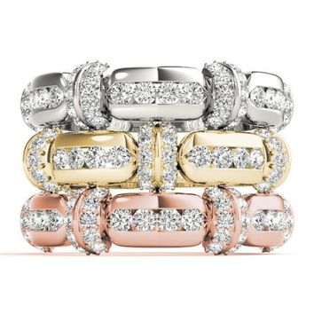 Stackables Full Eternity Tri-Tone Gold Channel & Bead Set 3-Band Set