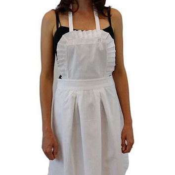 Perfectly Pleated White Cotton Apron