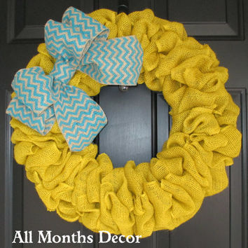 Yellow Burlap Wreath with Chevron Burlap Bow, Rustic, Spring Easter, Year Round, Fall, Door
