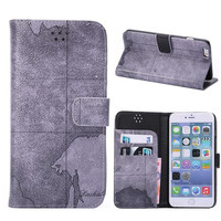 Gray World Map Leather iPhone Cases for 5S 6 6S Plus Free Shipping