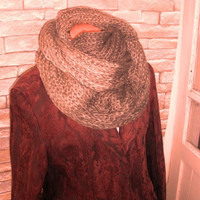 Men's Scarf, Chunky Scarf, Beige Wood Variegeted Knitted Scarf Winter Fashion Accessories Valentine's Day READY TO SHIP