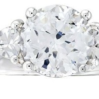 """Platinum Plated Sterling Silver """"100 Facets Collection"""" Cubic Zirconia Three-Stone Ring (3 cttw), Size 6"""