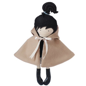 Doll Outfit Hooded Cape Hooded Coat Reversable Camel Wool to Camel White Polka Dotted Cotton Overcoat - Fit My 12 inch Fashion Dolls