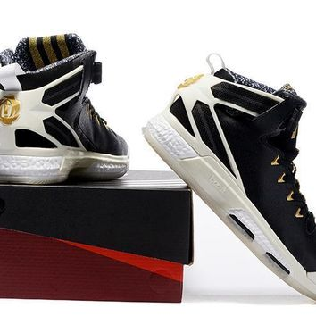quite nice 0aa09 12b1b Adidas D Rose 6 BHM Boost (Black  Gold ) Mens Basketball Shoes