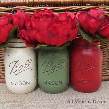 Set of 3 Painted Mason Jars, Cream Avocado Green Cherry Red, Pint Vase, Three Distressed Home, Rustic Shabby Chic, Christmas Winter Gifts