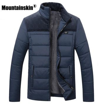 Mountainskin Thick Winter Coats Men's Jackets 4XL Fleece Casual Parkas Men Outerwear Solid Male Jackets Brand Clothing SA348