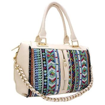 Sequins Aztec Santa Fe Print Shoulder Purse Handbag (Beige)