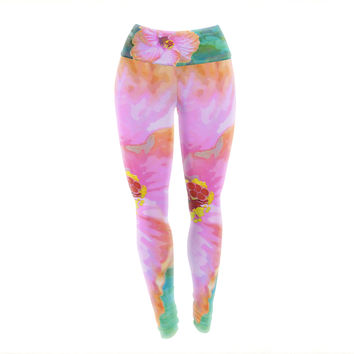 "Sylvia Cook ""Hibiscus"" Green Pink Yoga Leggings"